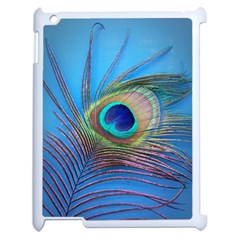 Peacock Feather Blue Green Bright Apple Ipad 2 Case (white)