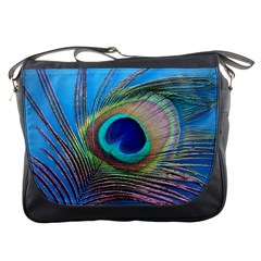Peacock Feather Blue Green Bright Messenger Bags