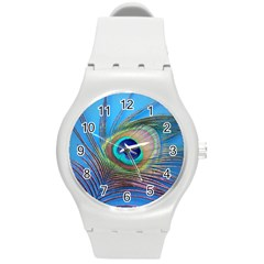 Peacock Feather Blue Green Bright Round Plastic Sport Watch (m)