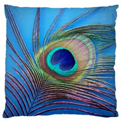 Peacock Feather Blue Green Bright Large Cushion Case (two Sides)