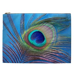 Peacock Feather Blue Green Bright Cosmetic Bag (xxl)