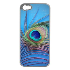 Peacock Feather Blue Green Bright Apple Iphone 5 Case (silver)