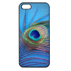 Peacock Feather Blue Green Bright Apple Iphone 5 Seamless Case (black)