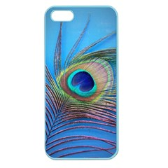 Peacock Feather Blue Green Bright Apple Seamless Iphone 5 Case (color)