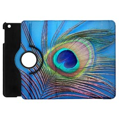 Peacock Feather Blue Green Bright Apple Ipad Mini Flip 360 Case