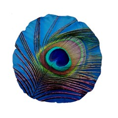 Peacock Feather Blue Green Bright Standard 15  Premium Round Cushions