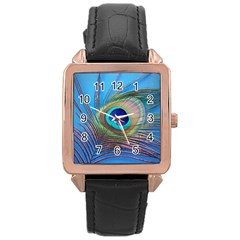 Peacock Feather Blue Green Bright Rose Gold Leather Watch