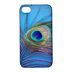 Peacock Feather Blue Green Bright Apple Iphone 4/4s Hardshell Case With Stand