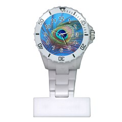 Peacock Feather Blue Green Bright Plastic Nurses Watch
