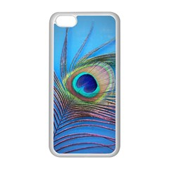 Peacock Feather Blue Green Bright Apple Iphone 5c Seamless Case (white)