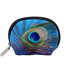 Peacock Feather Blue Green Bright Accessory Pouches (small)