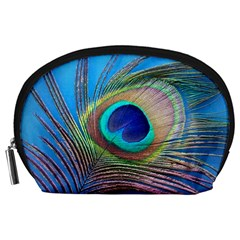 Peacock Feather Blue Green Bright Accessory Pouches (large)