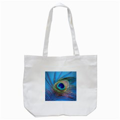 Peacock Feather Blue Green Bright Tote Bag (white)
