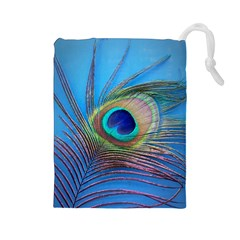 Peacock Feather Blue Green Bright Drawstring Pouches (large)