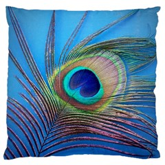 Peacock Feather Blue Green Bright Large Flano Cushion Case (two Sides)