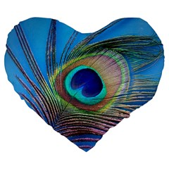 Peacock Feather Blue Green Bright Large 19  Premium Flano Heart Shape Cushions