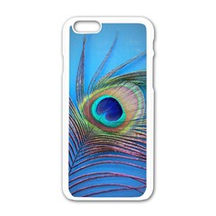 Peacock Feather Blue Green Bright Apple Iphone 6/6s White Enamel Case