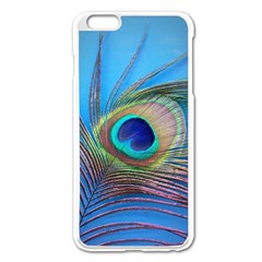 Peacock Feather Blue Green Bright Apple Iphone 6 Plus/6s Plus Enamel White Case
