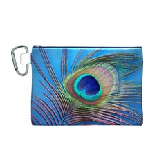 Peacock Feather Blue Green Bright Canvas Cosmetic Bag (m)