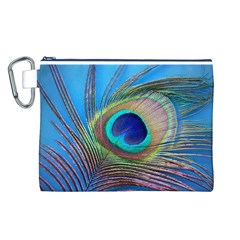 Peacock Feather Blue Green Bright Canvas Cosmetic Bag (l)