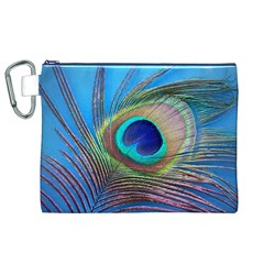 Peacock Feather Blue Green Bright Canvas Cosmetic Bag (xl)
