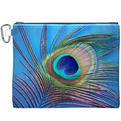 Peacock Feather Blue Green Bright Canvas Cosmetic Bag (xxxl)