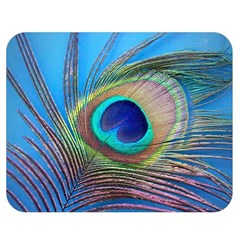 Peacock Feather Blue Green Bright Double Sided Flano Blanket (medium)