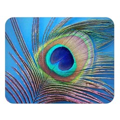 Peacock Feather Blue Green Bright Double Sided Flano Blanket (large)