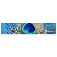 Peacock Feather Blue Green Bright Flano Scarf (Small)