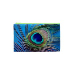 Peacock Feather Blue Green Bright Cosmetic Bag (xs)