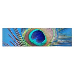Peacock Feather Blue Green Bright Satin Scarf (Oblong)