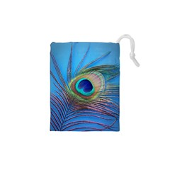 Peacock Feather Blue Green Bright Drawstring Pouches (xs)