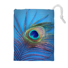Peacock Feather Blue Green Bright Drawstring Pouches (extra Large)