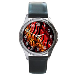 Abstract Fractal Mathematics Abstract Round Metal Watch