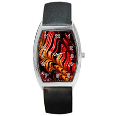 Abstract Fractal Mathematics Abstract Barrel Style Metal Watch