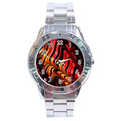Abstract Fractal Mathematics Abstract Stainless Steel Analogue Watch