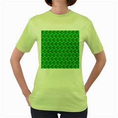 Abstract Art Circles Swirls Stars Women s Green T-Shirt