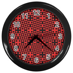 Abstract Background Red Black Wall Clocks (black)
