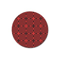 Abstract Background Red Black Magnet 3  (round)