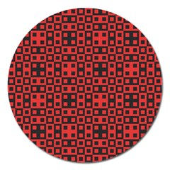 Abstract Background Red Black Magnet 5  (round)