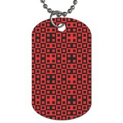 Abstract Background Red Black Dog Tag (One Side)