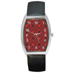 Abstract Background Red Black Barrel Style Metal Watch