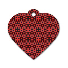 Abstract Background Red Black Dog Tag Heart (one Side)