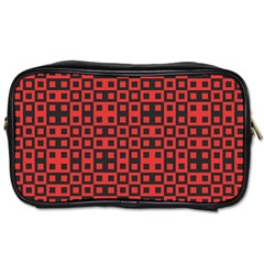 Abstract Background Red Black Toiletries Bags 2 Side