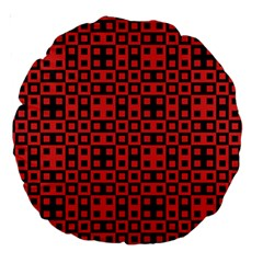 Abstract Background Red Black Large 18  Premium Round Cushions