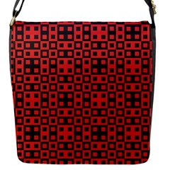 Abstract Background Red Black Flap Messenger Bag (s)