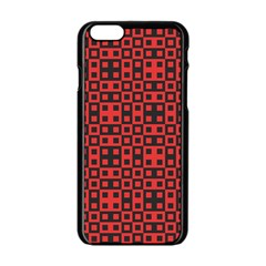 Abstract Background Red Black Apple Iphone 6/6s Black Enamel Case