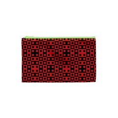 Abstract Background Red Black Cosmetic Bag (xs)