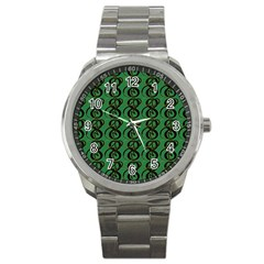 Abstract Pattern Graphic Lines Sport Metal Watch