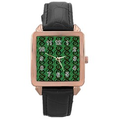 Abstract Pattern Graphic Lines Rose Gold Leather Watch